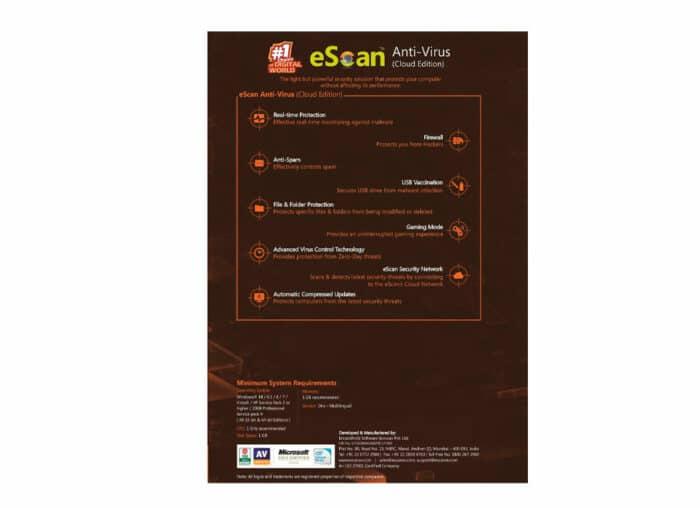 ANTIVIRUS ESCAN 1 PC / CD WINDOWS PROTECCION 15 MESES - 00462902 - R&M Portátiles
