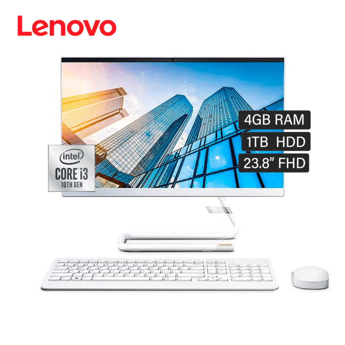 "LENOVO IDEACENTRE 3 24IMB05 INTEL CORE I3 10210U RAM 4GB DISCO 1TB HDD 23.8"" FHD WINDOWS 10 - IDECENTRE I3 - R&M Portátiles"