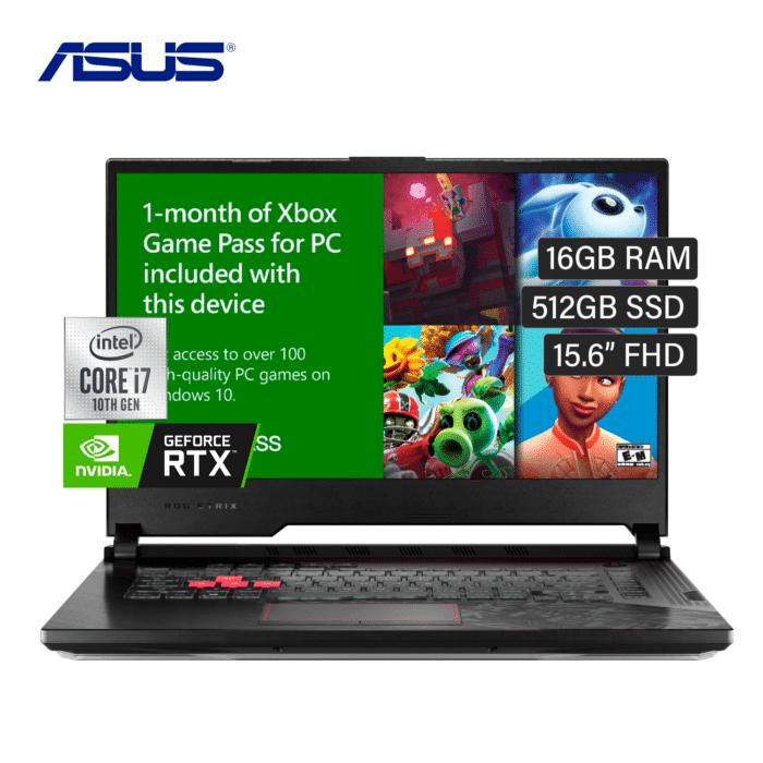 "LAPTOP ASUS STRIX G512LW-WS74 INTEL CORE I7 10870H RAM 16GB DISCO 512GB SSD VIDEO 8GB 15.6"" FHD WINDOWS 10 + CAMARA WEB - ASUS GAMER I7 RTX - R&M Portátiles"