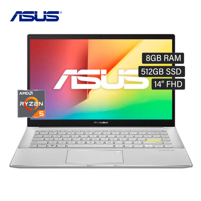"LAPTOP ASUS M433UA-EB046T RYZEN 5 5500U RAM 8GB DISCO 512GB SSD 14"" FHD WINDOWS 10 RED - ASUS M433UA - R&M Portátiles"
