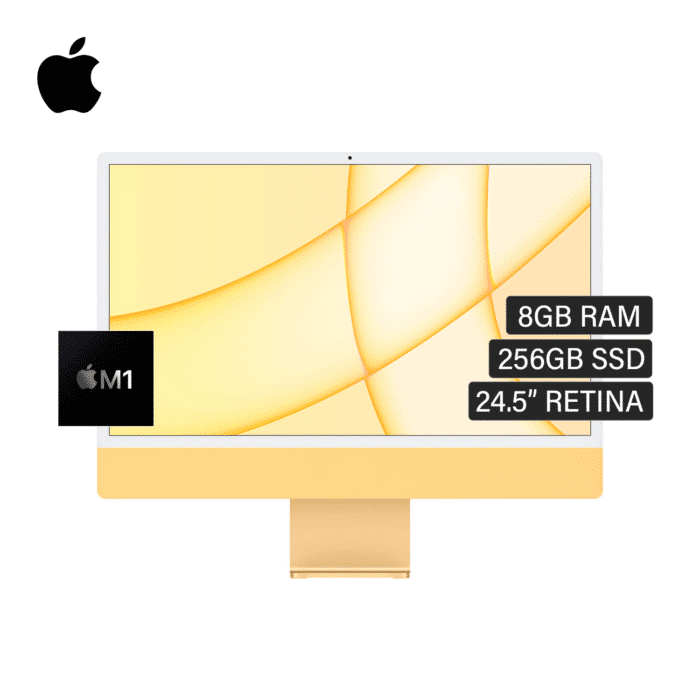 "IMAC A2438 CHIP M1 8CPU RAM 8GB DISCO 256GB SSD (FLASH) 24.5"" RETINA AÑO 2021 YELLOW - IMAC A2438 YELLOW - R&M Portátiles"