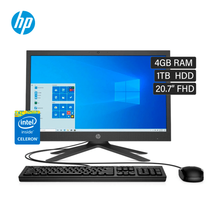 """HP ALL IN ONE 21-B0002LA CELERON J4025 RAM 4GB DISCO 1TB HDD 20.7"""" FHD WINDOWS 10 - 21 B0002LA - R&M Portátiles"""