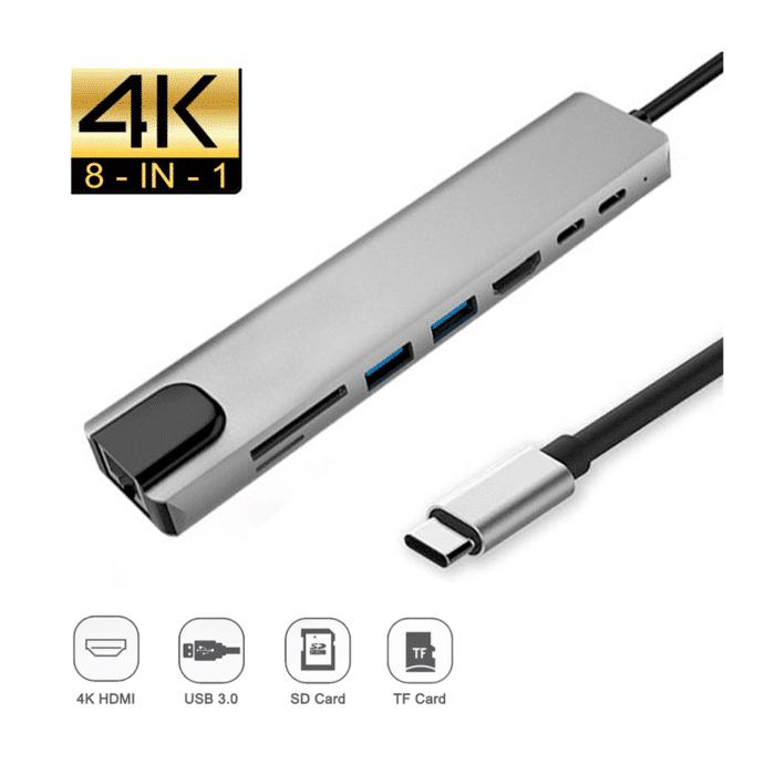 ADAPTADOR MULTIFUNCION USB TYPO C - HDTV SD/TF RJ45 - Adaptador USB C Tipo C - R&M Portátiles