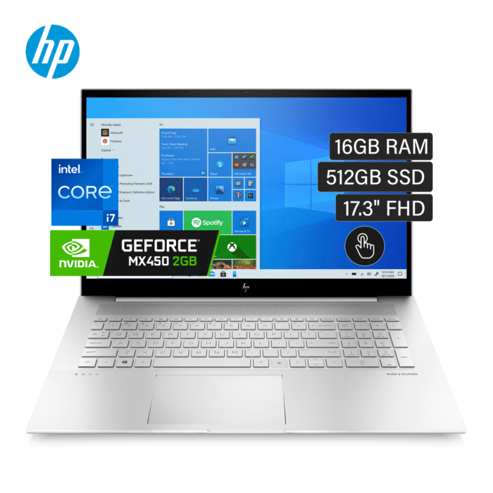 "LAPTOP ENVY 17T-CH000 INTEL CORE I7 1165G7 RAM 16GB DISCO 512GB SSD VIDEO 2GB 17.3"" FHD TACTIL WINDOWS 10 - HP Envy 17T - R&M Portátiles"