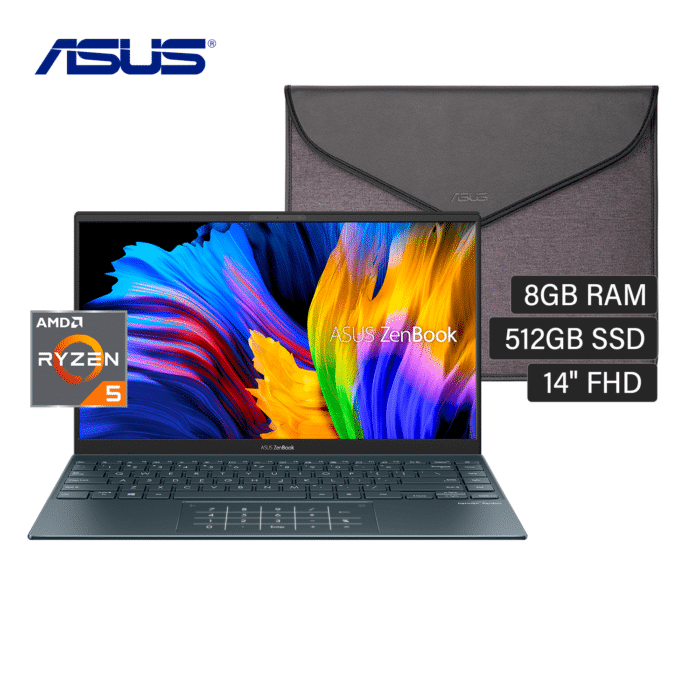"LAPTOP ASUS ZENBOOK UM425UA-KI174T RYZEN 5 5500U RAM 8GB DISCO 512GB SSD 14"" FHD WINDOWS 10 + FUNDA ASUS - ZENBOOK UM425UA KI174T 5 - R&M Portátiles"