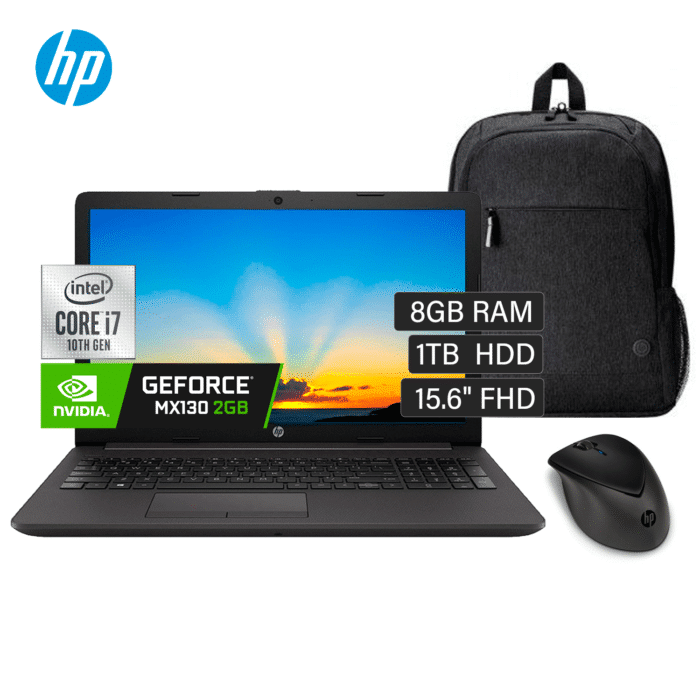 "LAPTOP HP 250 G8 INTEL CORE I7 1065G7 RAM 8GB DISCO 1TB VIDEO 2GB 15.6"" HD FREEDOS + MOCHILA Y MOUSE HP - NOTEBOOK 250 G8 - R&M Portátiles"
